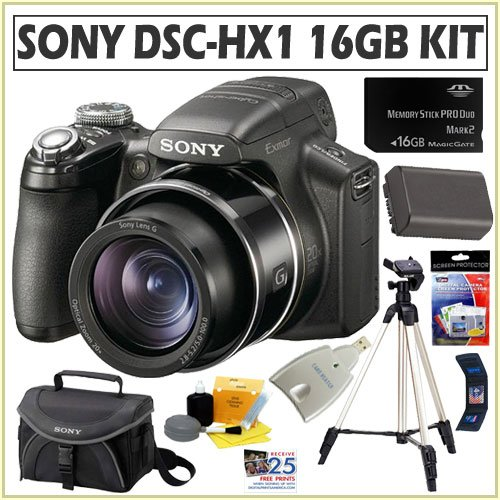 Sony Cybershot DSC-HX1 9.1MP Digital Camera with 20x Optical Zoom with Super Steady Shot Image Stabilization and 3.0 Inch LCD + 16GB Deluxe Accessory