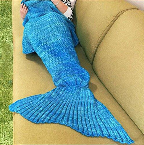 Handgefertigt Strick Meerjungfrau Schwanz Decke, Sofa Quilt Wohnzimmer Decke Meerjungfrau Decke für Erwachsene und Kinder 180229cm & # xff08; 186,7x 89,9cm) blau