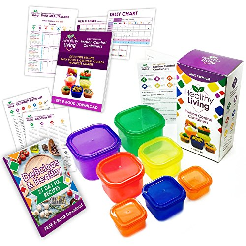 Healthy Living 7 Piece Portion Control Containers Kit (COMPLETE GUIDE + FREE 21 DAY PDF PLANNER + RECIPE E-BOOK included) - Leak proof, Perfect Size, Color-coded (Food Containers For 21 Day Fix compare prices)