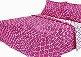 Melange Home Trellis Brushed Microfiber Quilt Set, Twin, Pink
