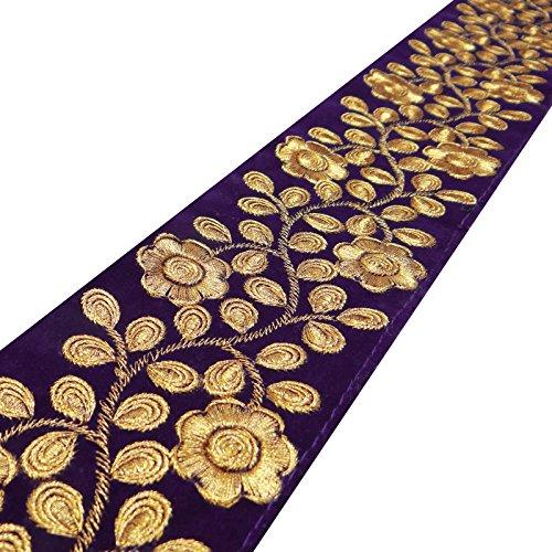 tissu-brode-mauve-garniture-76-cm-artisanat-garniture-de-couture-par-la-cour