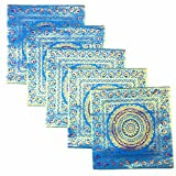 Kriti Creations Set Of 5 Benarasi BlueCushion Covers (16*16 IN)