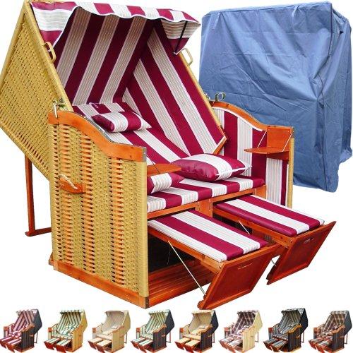 XINRO-XY-56-Balkon-Strandkorb-inkl-Luxus-Strandkorb-Schutzhlle-4x-Kissen-rot-gestreift-mit-naturfarbigem-Rattan-und-braunem-Holz-Form-Ostsee-Strandkorb