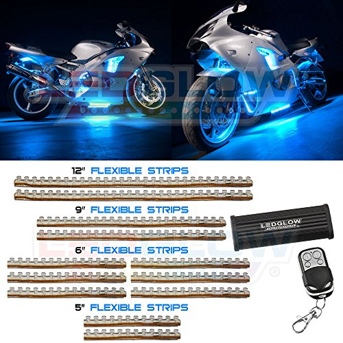LEDGlow 12pc Ice Blue LED Flexible Motorcycle Light Kit (Ice Blue Motorcycle Lights compare prices)