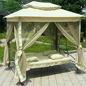hollywoodschaukel gartenschaukel gartenliege schaukel beige creme. Black Bedroom Furniture Sets. Home Design Ideas
