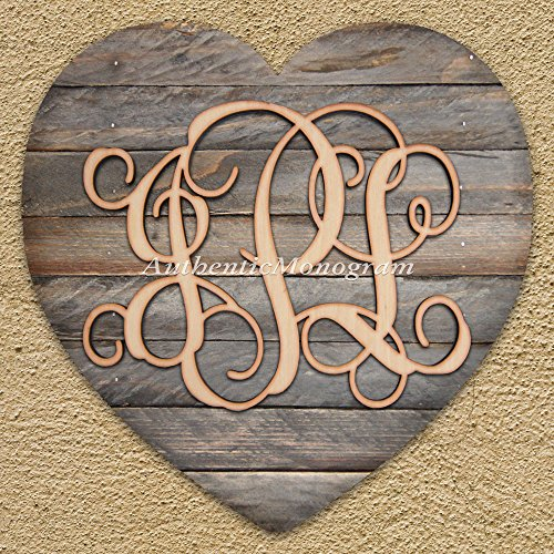 "Monogram 3 Letters Wooden; Mounted On Vintage Weathered Hart Board, Home Decor, Wedding Decor, Gift Of Love, Initial Monogram, Wall Hanging (12"")"