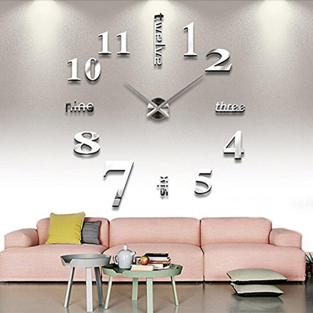 DIY Uhr Kreativ Wanduhr Wohnuhr 3D Spiegel Aufkleber WandSticker Grosse Uhr Zimmerdeko Geschenk (silber) günstig