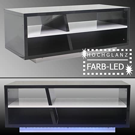 Couchtisch ZIG mit LED / Beistelltisch HOCHGLANZ schwarz weiß TV Tisch Bank HiFi