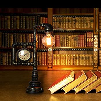 Injuicy Lighting Vintage Industrial Water Pipe Table Light Edison Desk Accent Lamp With Clock Bar