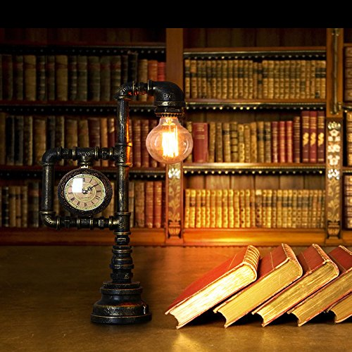 Injuicy Lighting Vintage Industrial Water Pipe Table Light Edison Desk Accent Lamp With Clock Bar 1