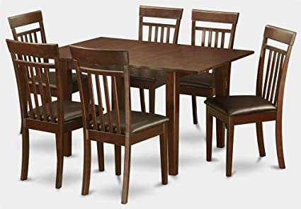 7-Pc Rectangular Dining Set in Mahogany Finish