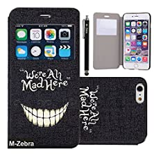 buy Iphone 6S Case, M-Zebra Brand New Fashion Painting Pu Flip Leather Window View Design Display Caller Id Time Table Case Cover For Iphone 6S,With Screen Protectors+Stylus (Teeth)