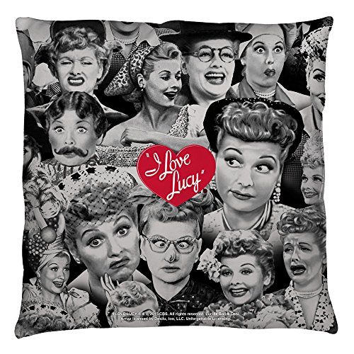 I Love Lucy Faces Throw Pillow White 16X16