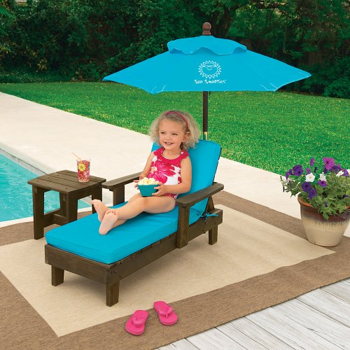 e Step Ahead Sun Smarties Outdoor Chaise With Umbrella And Table Turquoise