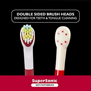 WAGNER Switzerland SuperSonic toothbrush for boys | 8 reversible brush heads for teeth and tongue cleaning with DuPont bristles | Vibration Speed Control | Wireless charging w Smart Timer, Waterproof. (Color: Red)