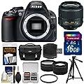 Nikon D3100 Digital SLR Camera & 18-55mm VR II Lens with 16GB Card + Case + Tripod + 2 Lens Kit (Certified Refurbished)