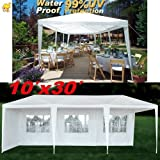 STRONG CAMEL Wedding Party Tent 10x30 White Gazebo Canopy BBQ Easy Set Pavilion Cater Events