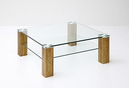 Couchtisch, Beistelltisch, Glas, Eiche (Asteiche) massiv, mit Ablage, 90 x 90 cm