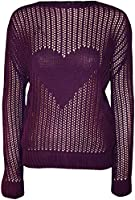 Womens Plus Size Knitted Heart Mesh Jumper Ladies Sleeve Crochet Fish Net Top