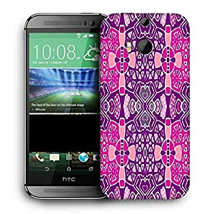 Snoogg Pink Purple Pattern Printed Protective Phone Back Case Cover For HTC One M8