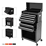 8-Drawer Rolling Tool Chest,Big Tool Chest and Tool Storage Cabinet,Tool Chest with 4 Wheels,Removable Portable Top Box with Lock Tool Chest for Garage and Warehouse-Black (Color: Black)