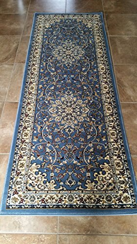 Deir Debwan Traditional Persian Runner 330,000 Point Oriental Area Rug Light Blue Design 603 (2 Feet X 7 Feet 2 Inch)