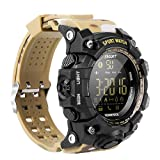 EX16 Camoflauge Military Style Sports Smart Bluetooth Watch with Activity Tracker Pedometer Steps Caloires Distance Stopwatch 50M Waterproof 1 Year Long Battery Life Compare with iOS& Android (Khaki) (Color: khaki)