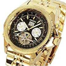 GuTe Luxury Golden Mens Automatic Mechanical Wrist Watch Black Dial Glass Day Date Month
