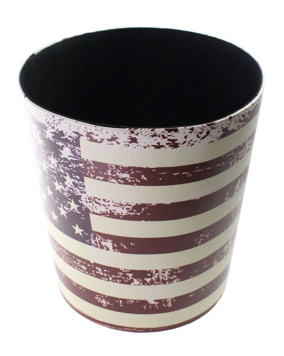 JustNile Country Themed Vintage PU Leather Trash Can without Lid - American USA Flag 2
