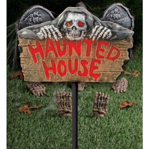 Light Up Sign On Stake - Haunted House ステーク?サインオンをライトアップ-お化け屋敷を♪ハロウィン♪サイズ: