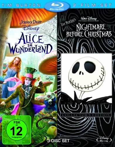 Tim Burton 2-Film-Set (3 Discs): Alice im Wunderland/Nightmare before Christmas [Blu-ray]