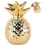 globlepanda Pineapple Girls Piggy Bank Ceramic Pineapples Shape Save Money Cans Decorative Kids Adults Piggy Bank for Home Bedroom Party Decorations Valentine's Day Kid's Birthday Gifts (Gold) (Color: Glod)