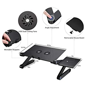 RAINBEAN Laptop Stand with 2 CPU Cooling USB Fans for Bed,Cozy Aluminum Vented Lap Workstation Desk with Mouse Pad,Foldable Book Reading Stand Notebook Tablet Holder on Sofa,Adjustable Bed Table Tray (Color: Black, Tamaño: 16.5 inch)