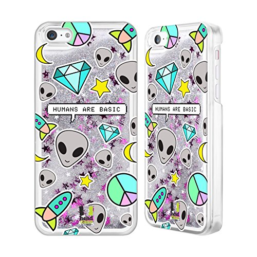 Head Case Designs Basic Humans Alien Emoji Custodia Cover con Glitter Liquidi Argento per Apple iPhone 5c
