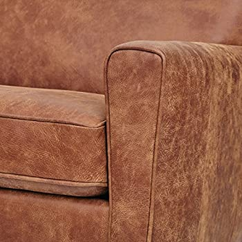 "Rivet Lawson Modern Angled Leather Sofa, 78""W, Saddle Brown"