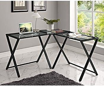 Glass and Metal X-Frame Computer Desk