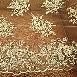 1yard cordón de oro guipur Malla tela del cordón del bordado de tela de tul vestidos de novia
