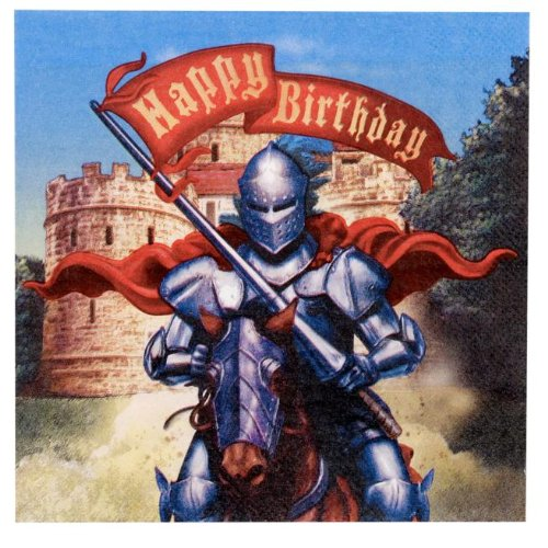 Valiant Knight Lunch Napkins (16) Round Table Birthday Party Supplies