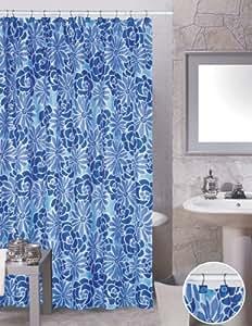 Amazon Modern Blue Flowers Bathroom Shower Curtain