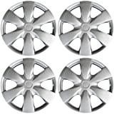 OxGord Hub-caps for 04-16 Toyota Yaris (Pack of 4) Wheel Covers 15 inch Snap On Silver (Color: Silver, Tamaño: 4pc Set)