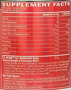 BSN N.O.-XPLODE 2.0 Caffeine Free - Fruit Punch, 15.9 oz (20 Servings)