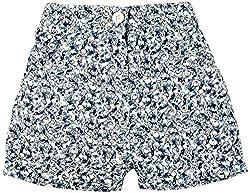 Oye Girls Printed Shorts - White/Blue Print (2-3Y)