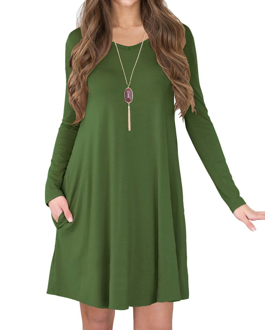 Loose Casual Swing V Neck Pocket T Shirt Dress