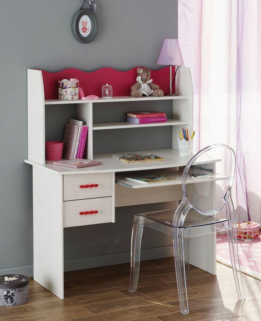 Schreibtisch Lilan 3 weiß pink, Kinderzimmer Mädchen, Tisch mit Regalaufsatz, Mädchenzimmer Jugendzimmer günstig kaufen