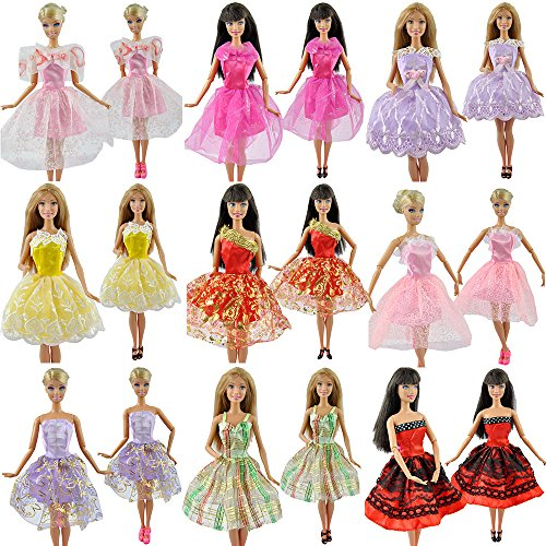 E-TING 5 Set Handmade Mini Dresses Clothes 5 Shoes 5 Hanger for Barbie Doll - 1