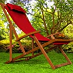 Wooden Deck Chair Fabric Folding Gard...