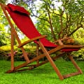 Wooden Deck Chair Fabric Folding Garden Chairs made of Hardwood Red