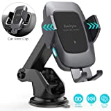 Heiyo Wireless Car Charger Mount, Qi 10W/7.5W Fast Charging Automatic Clamp Car Holder, Dashboard Air Vent Car Charger Holder Compatible for Samsung S10/S9/S9+/S8/Note 8, iPhone Xs Max/Xs/XR/X 8/8+ (Color: Black, Tamaño: Medium)