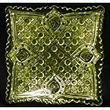 Vaseline Glass Banner Pattern Square Tray - Made with Uranium