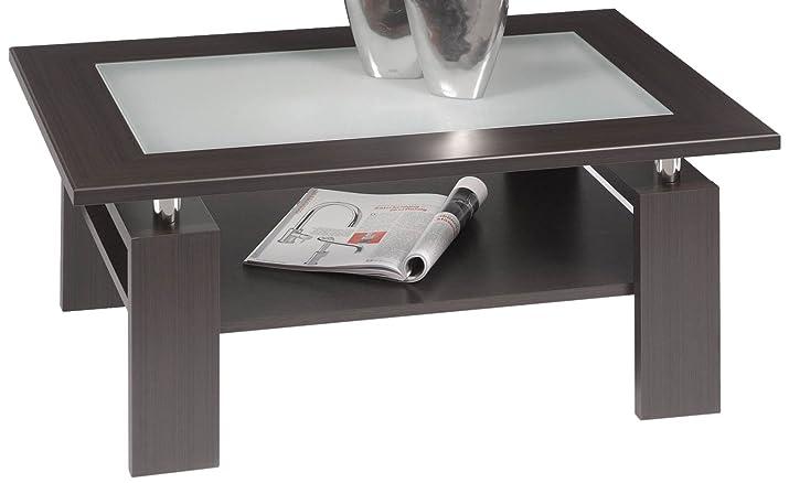 Alfa-Tische M1500 - Tavolino Milano, in legno di rovere, con inserto in vetro a effetto lattiginoso, 100 x 65 cm